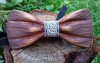 Деревянная галстук бабочка 3D Голубой орнамент ручной работы, серия Зиррикот