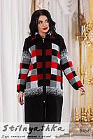 Стильное вязанное пальто большого размера черное с красным