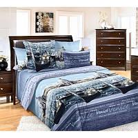 Ткань для постельного белья, перкаль (хлопок) Венеция синяя