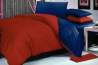 Постельное белье Сатин МиксCLASSIC BLUE + WINE RED, семейный