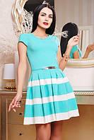 42,44,46,48,50 размер Нежное платье Девора женское зеленое летнее модное красивое батал в полоску приталенное