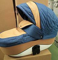 Коляска Adamex Barletta 353S синий лен-бежевая кожа