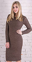 Длинное вязаное платье темно-коричневый (42-46)