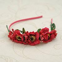 """Ободок """"Красные цветы"""" голову для девочки"""