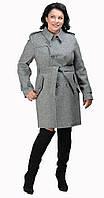 Пальто-шинель с поясом серое