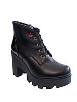 Женские стильные, модные, комфортные черные демисезонные ботинки тракторы, эко-кожа