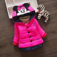 """Детская демисезонная куртка для девочки на 1 - 2 - 3 года """"Розовая Мышка Минни"""""""