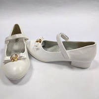 Туфли нарядные для девочки D510 белые ТМ Clibee