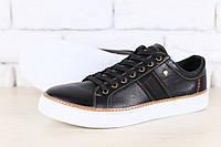 Мужские черные кожаные спортивные туфли