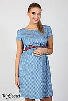 Легкое платье для беременных и кормящих Celena, звездочки на светлом джинсе