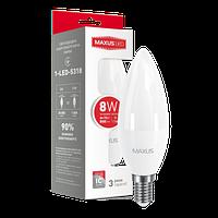 LED лампа MAXUS C37 CL-F 8W 4100K E14 яркий свет (1-LED-5318)