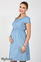 Легкое платье для беременных и кормящих Celena, сердечки на светлом джинсе*