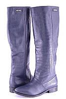 Кожаные женские сапоги цвет синий рептил р