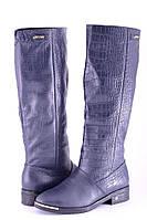 Кожаные женские сапоги цвет синий рептил