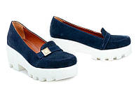 Кожаные женские туфли цвет замша синяя