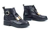 Кожаные женские ботинки цвет черный