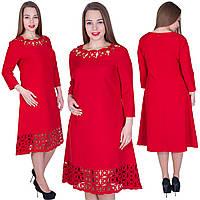 Нарядное платье с лазерным узором и жемчугом! Цвет: красный. Размер 48,50,52,54. Код 574, фото 1