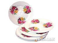 """Набор фарфоровых подставных тарелок 3201 PT """"Роза на белом фоне"""", 6 шт., 25 см."""