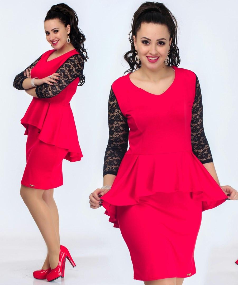 Платье с баской трикотаж красное