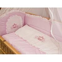 Cпальный комплект в детскую кроватку с защитой и балдахином 60х120 Принцесса и Принц, с вышивкой, хлопок