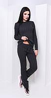 Женский вязаный спортивный костюм дымчатый