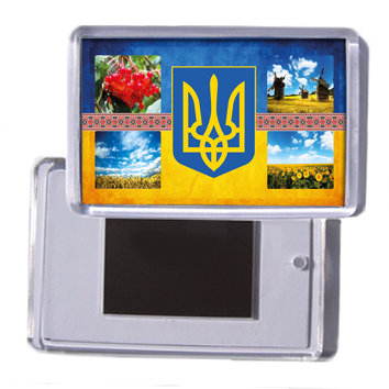 """Украинский акриловый сувенирный магнит на холодильник """"Украинская символика"""""""