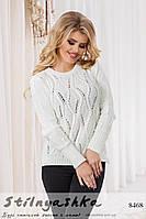 Женский вязанный свитер Ажур белый