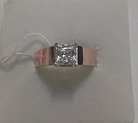Серебряное женское кольцо с золотом Санта
