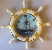 Часы настенные морские кварцевые Штурвал Корабль