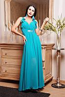 42,44,46,48,50 размер Сарафан вечерний Георгина длинный голубой бирюзовый с декольте в пол платье батал летнее