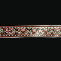 Лента сатин с накаткой 2,5 см. 20 м. украинский орнамент