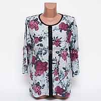 Кофта блуза женская батал Цветок p.52-54 цвет серый B7-1