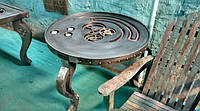 Столик Индустриальный круглый Механика. Дизайнерский железный стол. Ручная работа. Сделано в Индии.