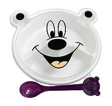 Двухсекционная тарелка с крышкой в форме зверька и ложка арт. 888-020