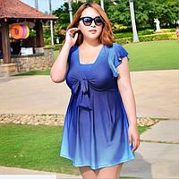 Купальник совместный  в виде платья синий 4XL/5XL 54/56р купальник большой размер градиент