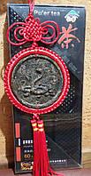 Подвеска - медальон из чая Пуэр ЗМЕЯ знак зодиака и китайский узел, фэн-шуй, подарок, сувенир, Китай