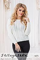 Женский вязанный свитер Колоски белый