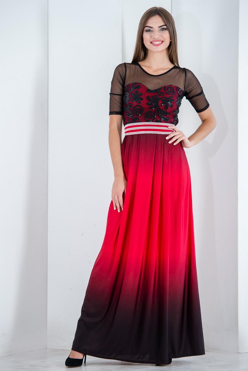 Платье вечернее нарядное в пол с гипюром