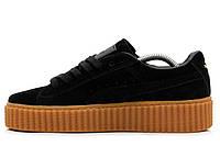 Женские кроссовки  Rihanna x PUMA Creeper (Black/Oatmeal)