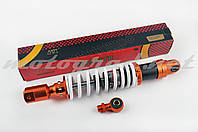"""Амортизатор универсальный (+ переходник) 350mm, тюнинговый """"NDT"""" (оранжево-белый)"""