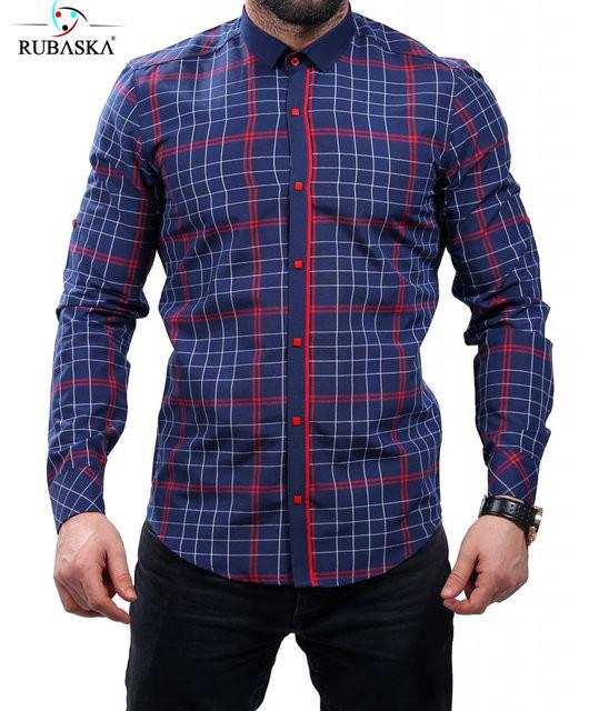 Рубашка клетчатая синяя с красным