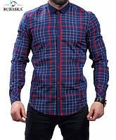 Рубашка клетчатая синяя с красным, фото 1