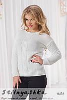 Женский вязанный свитер Колосок белое