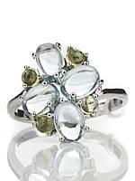 Кольцо серебряное с топазом и хризолитом