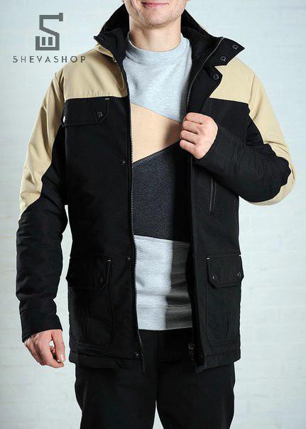 Демисезонная мужская куртка F&F Alaska бежево-черная, фото 1