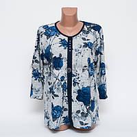 Кофта блуза женская батал Цветок p.52-54 цвет серый B7-2