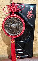 Подвеска - медальон из чая Пуэр БЫК знак зодиака и китайский узел, фэн-шуй, подарок, сувенир, Китай.