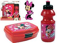 "Набор ""Minnie Mouse (Минни Маус)"". Контейнер для завтрака (ланч бокс) + бутылка, цвет красный"