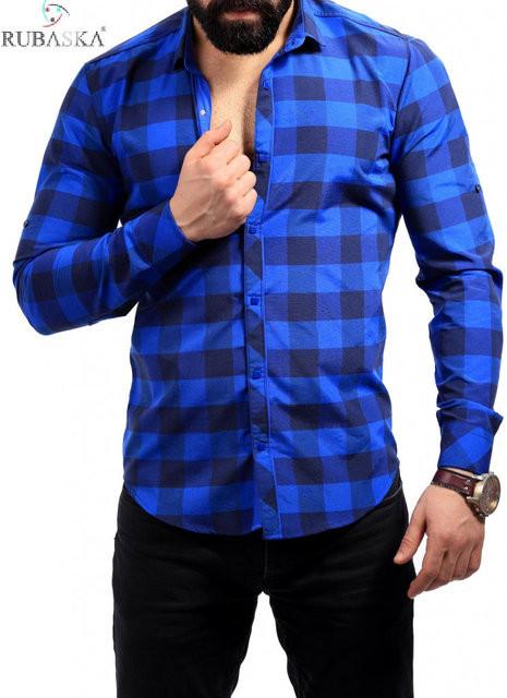 Рубашка в клетку синяя с електрик