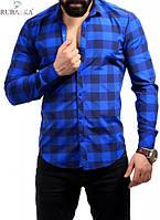 Рубашка в клетку синяя с електрик, фото 1